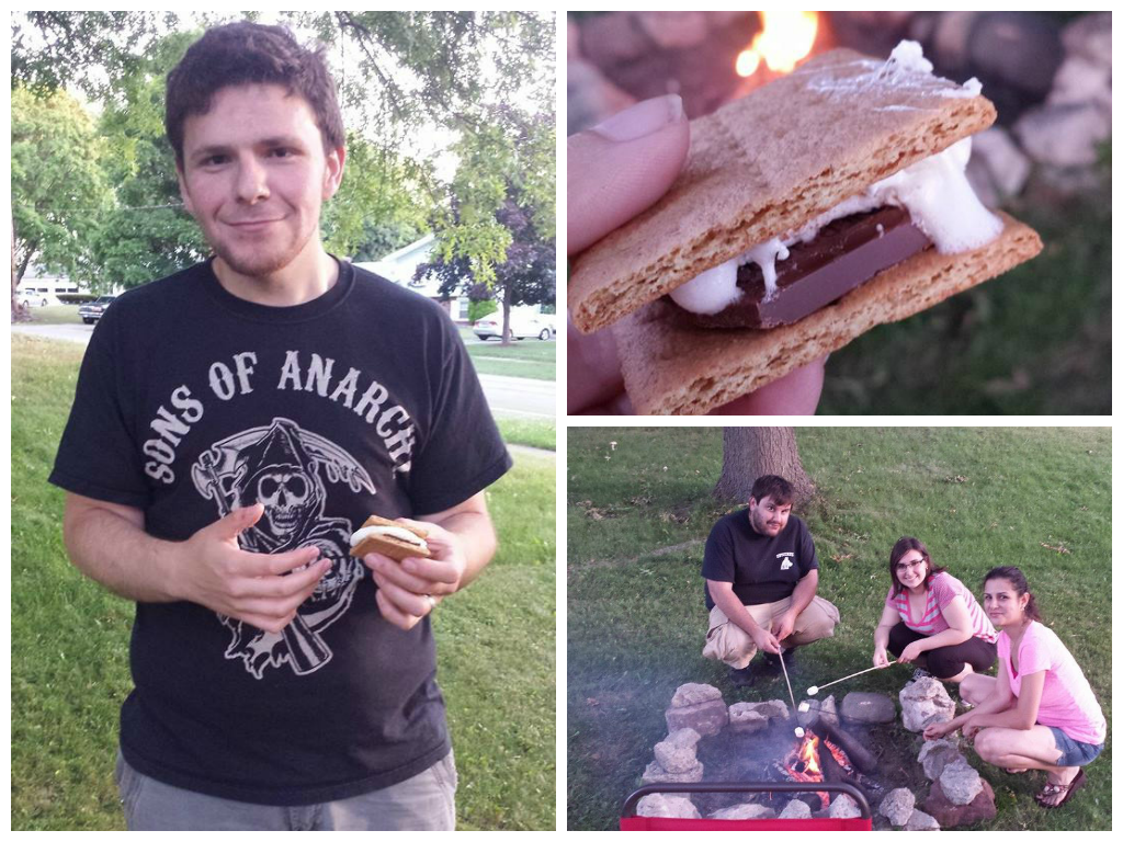 Jerry with his first ever s'more, me roasting marshmallows with my brother and sister in law.