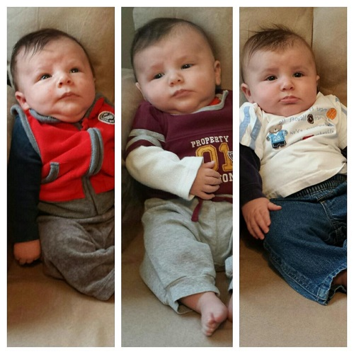 Caleb on his one month, two month, and three month birthdays. The changes are incredible!