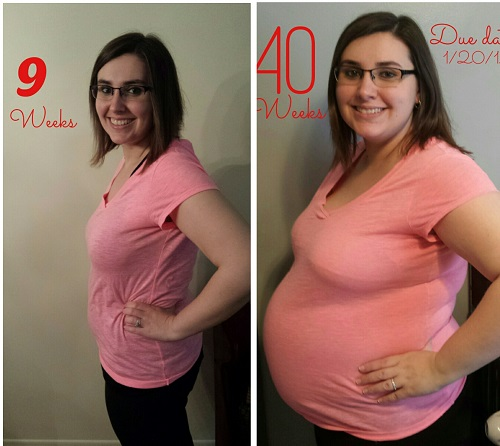 L: 9 weeks pregnant (approximately 162 pounds). R: 40 weeks pregnancy (232 pounds).