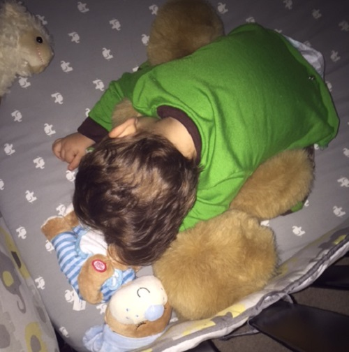 Fell asleep wrapped around his teddy bear.
